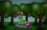 Sitting In The Rain (Commission) by Blue-Blazer-pony