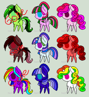 Mixed 100 Themes Pony Adoptables by FairyKitties22