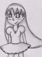 black and white anime girl by DrGengar