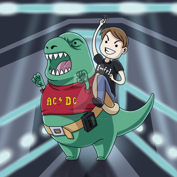 DG Riding A Dinosaur In Tron by CrystallineColey