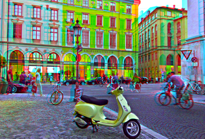 Vespa LX50 in Munich 3D ::: Anaglyph HDR by zour