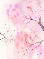 Cherry Blossom, Abstract,  Art Watercolor Painting by SuisaiGenki