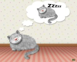 Dreaming cat by Inilein
