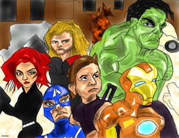 cartoon avengers colored by Bicabo