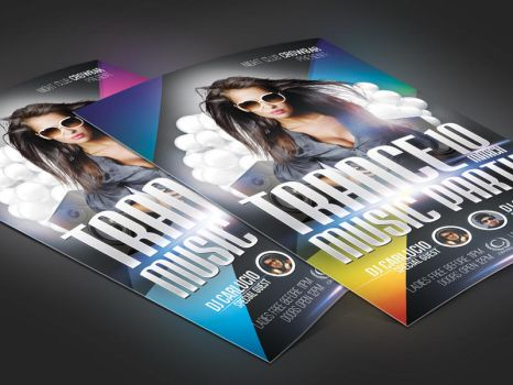 Trance Music Party Flyer PSD Template by deadpuf