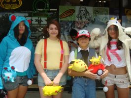 Pokemon: Marill, Misty, Ash, and Meowth by Gubreez