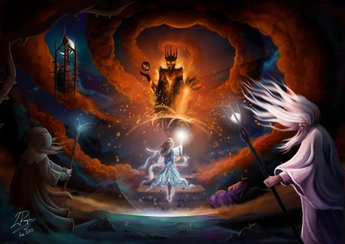 Galadriel Vs Sauron by LaurenceAndrewPage