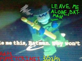 Lego Batman 2-Riddler wants be left alone by PuppetCrimes