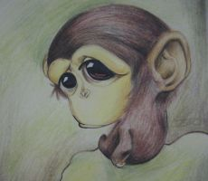 poor monkey ,like me in class.... by NickyBean