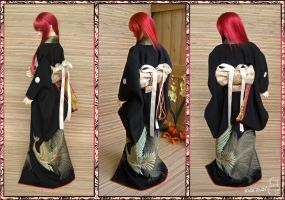 BJD Kimono, Black Formal Furisode by InarisansCrafts