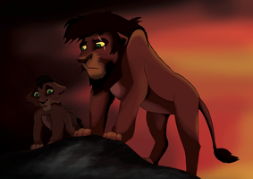 Kovu And Cub by TheGreenRabbit