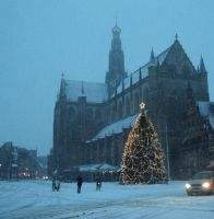 BAVO church in snowstorm with christmastree by marob0501