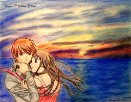 Kyo and Tohru by the sea by Meowchee