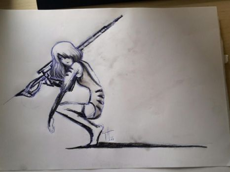 sniper girl ( sketch)  by TheHideFriday