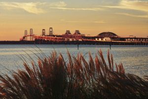 Chesapeake Bay Bridge at Sunset by NDCott