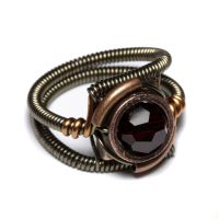 Steampunk Red Crystal Ring by CatherinetteRings