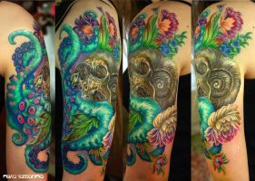 skull, tentacles and flowers tattoo by NikaSamarina