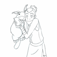 Lineart - Sokka and Foo Foo Cuddly Poops by kamidoodles