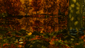 Autumn Forest Pond WIP 5 by Shroomworks