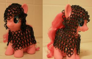 Pinkie pie in black chain mail with coif. by Gruntoks