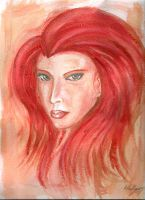 Watercolor: Red head by shiprock