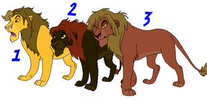 Male Lions Adoptables 3 - CLOSED - by Soufroma