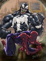 Venom against the lil rascal by scabrouspencil