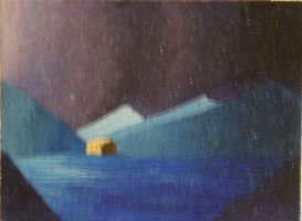 Mountain House at Night in Oil #3 by TheSkaldofNvrwinter