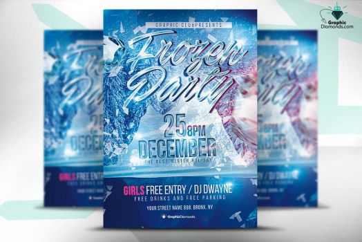 Frozen Party Flyer PSD by GraphicDiamonds