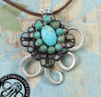 Turquoise Twisted Fork Pendant by Doctor-Gus
