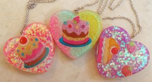 Kawaii Dessert Resin Charm Necklaces by chkimbrough