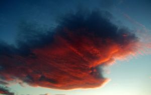 Red Fish - Profile of a Cloud with light of sunset by Johnny-Aza