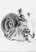 Bob, the snail -the drawing by gonzomouse