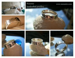 Seascape silver rings by Tchiii-chan