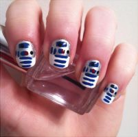 R2D2 Nails by AStudyInPolish