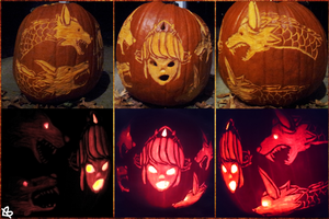 Scylla Pumpkin Carving by Silverfoxxe