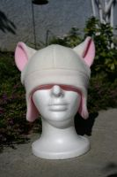 Pink and White Fleece Hat by Jolly-Jess