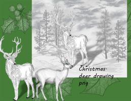 Christmas deer drawing by roula33
