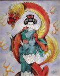 A Geisha and her Dragon by DragonCid