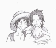 Luffy and Ace for MugiwaraFairy by Chocogirl3