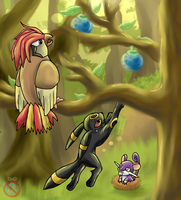 Pidgetto, ratata and umbreon by shadowhatesomochao
