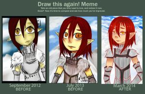 3 Years of drawing : Draw this again meme by Aokori