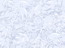 Cute Sonic Doodles (very old) by thegreatrouge