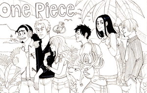 Strawhats in the jungle (lineart) by Mellobird
