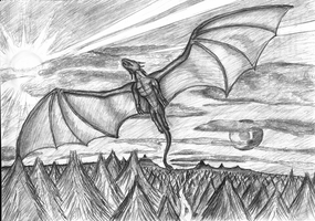 A flying dragon by Cymoth