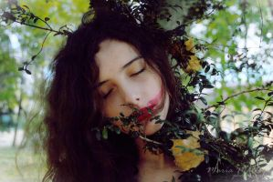 the dryad leaning her sadness by Midnight3Flame
