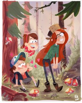 Dipper Pines first kiss by Coram85
