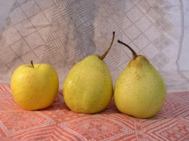 2 Pears and Apple by SanStock