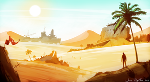Desert Wasteland - Environment Concept Art by BlazeXXL