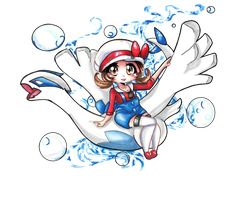 HGSS lugia and female Trainer by HatsuneSnow